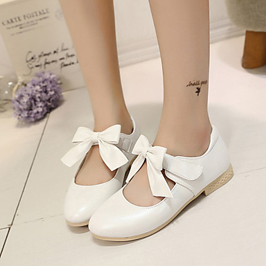 Girls' Shoes Leatherette Spring Comfort / Flower Girl Shoes Flats Bowknot / Magic Tape for Gold / White / Pink / Party & Evening