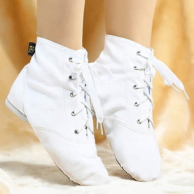 Mujer Zapatos de Jazz Tela Botas Con Cordón Tacón Personalizado Personalizables Zapatos de baile Blanco / Negro / Rojo / Rendimiento