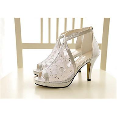 fa8ffddd2a02c Femme Filet Eté Confort Chaussures à Talons Talon Aiguille Bout ouvert Or    Noir   Argent