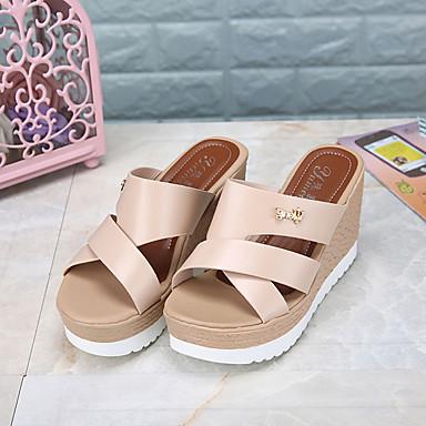 Mulheres Sapatos Couro Ecológico Verão Conforto Sandálias / Chinelos e flip-flops Caminhada Salto Plataforma Dedo Aberto Vazados Preto /