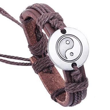 voordelige Herensieraden-Heren Lederen armbanden Armband Yin Yang Aziatisch Klassiek Leder Armband sieraden Bruin Voor Lahja Causaal