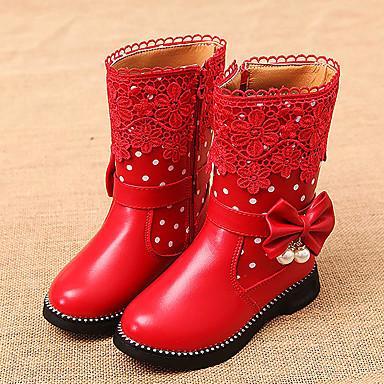 Chica Zapatos Semicuero Invierno Confort / Botas de nieve Botas Paseo Cremallera para Negro / Rojo / Rosa