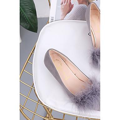 Mujer Pluma Confort Puntiagudo 06421729 Bajo Verde Dedo Tacones Nobuck Gris Invierno Cuero Rosa Tacón Zapatos pwaZrp
