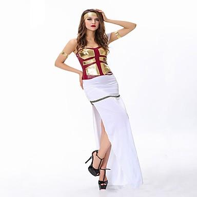 Bogini Athena Starożytna Grecja Kostium Damskie Sukienki Bal maskowy Kostium imprezowy White Postarzane Cosplay Nylon Krótki rękaw Krótki