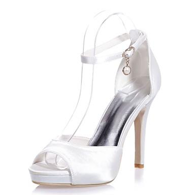 b4bd84a07f4ba6 Femme Chaussures Satin Printemps / Eté Escarpin Basique Sandales Talon  Aiguille Bout ouvert Boucle Rouge / Bleu / Ivoire / Mariage