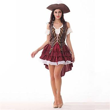 Sexy Uniformy Kostium Damskie Sukienki Bal maskowy Kostium imprezowy Czerwony Postarzane Cosplay Poliester Krótki rękaw Zimne ramię