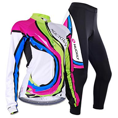 Nuckily Damen Langarm Fahrradtrikots mit Fahrradhosen - Camouflage Geometrisch Fahhrad Trikot/Radtrikot Kleidungs-Sets, Anatomisches
