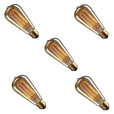 お買い得  白熱灯-5個 40W E26/E27 ST58 暖かい黄色 2200-3000 K 調光可能 白熱ビンテージエジソン電球 AC 220-240V V