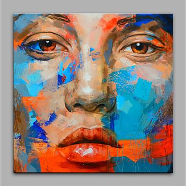 Hang-Malowane obraz olejny Ręcznie malowane - Ludzie Nowoczesny Brezentowy / Zwijane płótno