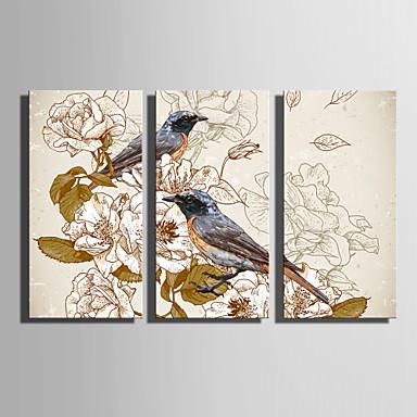 Aufgespannte Leinwandrucke Leinwand-Set Tiere Romantik Botanisch Drei Paneele Vertikal Druck Wand Dekoration Haus Dekoration