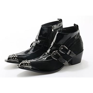 halpa Miesten kengät-Miesten Fashion Boots Nahka / Hevosenjouhi Syksy / Talvi Bootsit Nilkkurit Musta / Häät / Juhlat / Juhlat