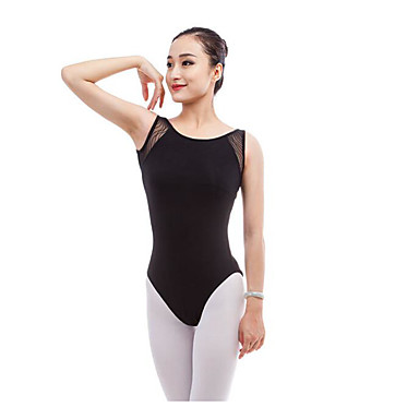 Balet Leotards Damskie Wydajność Bawełna Materiały łączone Bez rękawów Naturalny Trykot opinający ciało / Śpiochy dla dorosłych