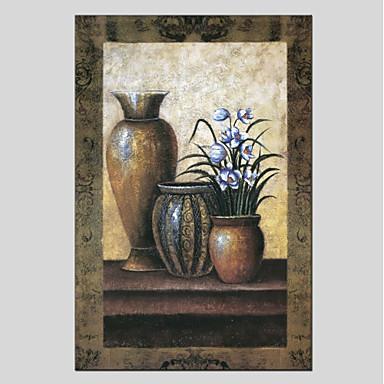 Hang-Malowane obraz olejny Ręcznie malowane - Martwa natura Nowoczesny Brezentowy / Rozciągnięte płótno