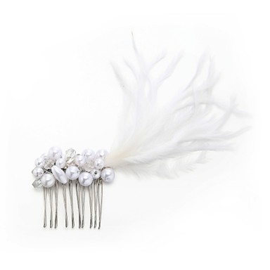 Imitacja pereł Pokryte piórami Grzebienie do włosów with Faux Pearl 1szt Ślub Specjalne okazje Winieta