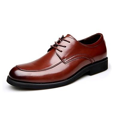 Męskie Buty Skórzany Skóra Zima Jesień formalne Buty Comfort Oksfordki na Ślub Casual Black Brown