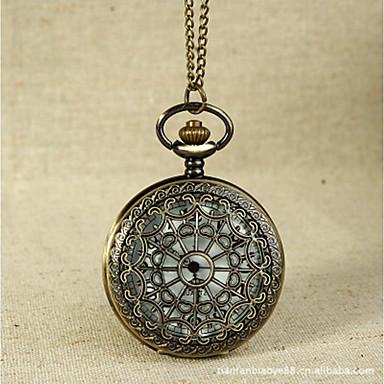 baratos Colar com Relógio-Casal Relógio de Bolso Quartzo Dourada Gravação Oca Relógio Casual Legal Analógico Casual Caveira Steampunk - Dourado