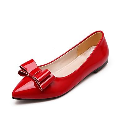 Mujer Zapatos Semicuero Primavera verano Confort Bailarinas Tacón Plano Dedo redondo Negro / Beige / Rojo Km1h4