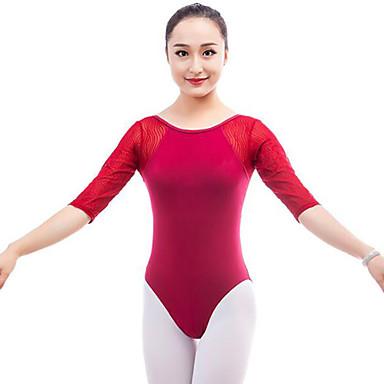 Balet Leotards Damskie Wydajność Bawełna Materiały łączone Rękaw 1/2 Naturalny Trykot opinający ciało / Śpiochy dla dorosłych