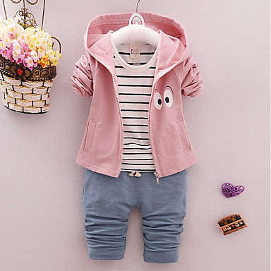 82a1ba7706af1 مجموعة ملابس قطن كم طويل طباعة لون سادة   كارتون مناسب للخارج كاجوال    رياضي Active للفتيات طفل صغير   جميل