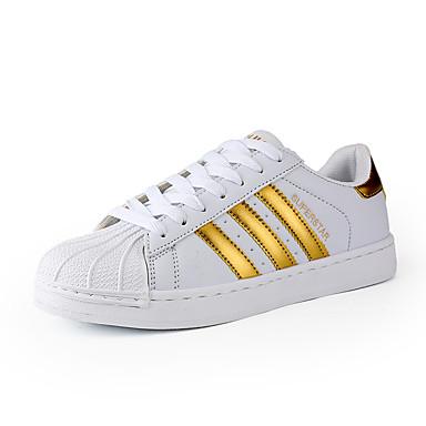 Unisexo sapatos Couro Ecológico Primavera Outono Conforto Tênis Cadarço para Casual Branco Preto Dourado Azul/ Vermelho