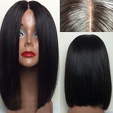 Włosy naturalne Koronkowy przód Peruka Włosy brazylijskie Prosto Fryzura Bob Z baby hair 130% Gęstość Nieprzereagowany 100% Dziewica