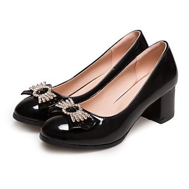 Mujer Zapatos Piel de Oveja Primavera / Otoño Confort Zapatos de taco bajo y Slip-On Tacón Bajo Negro / Almendra nQbY1