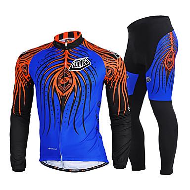 Nuckily Calça com Camisa para Ciclismo Homens Manga Longa Moto Conjuntos de Roupas Secagem Rápida A Prova de Vento Resistente Raios