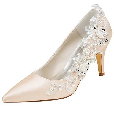 Bout Chaussures Femme Talon Satin Aiguille Perle mariage de 06430429 Automne Elastique Appliques Basique Printemps Chaussures pointu Escarpin 7qdqxr