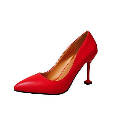 Damen Schuhe PU Herbst Winter Komfort High Heels Niedriger Heel Runde Zehe für Normal Weiß Schwarz Rot Mandelfarben