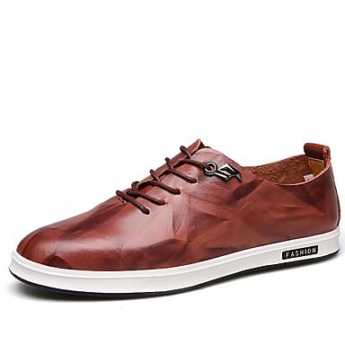 Homens sapatos Couro Verão / Outono Conforto / Sapatos formais Mocassins e Slip-Ons Caminhada Preto / Marron / Camel