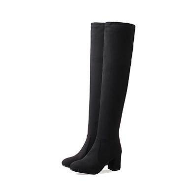 la Noir à rond Cuissarde Nubuck Mode Hiver Cuir 06418615 Automne Bout Femme Bottes Gris Bottes Block Jaune Heel Chaussures Z4Rq0Fw1