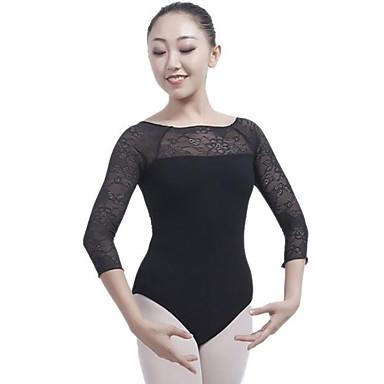 Balet Leotards Damskie Wydajność Bawełna Materiały łączone Rękaw 3/4 Naturalny Trykot opinający ciało / Śpiochy dla dorosłych
