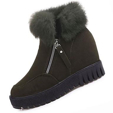 Gemelo Botas Negro Verde Mujer Plano Caqui redondo Mitad Botas 06418797 Cachemira Invierno nieve Tacón Zapatos Dedo de de Pluma qOBFAq