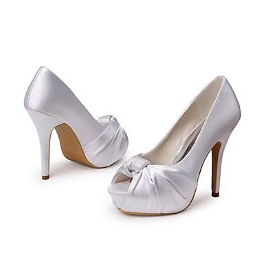 amp; Printemps Aiguille en Mariage Soie Bout de Soirée Chaussures ouvert Evénement Basique mariage Blanc Chaussures Eté Talon Escarpin Femme Fleur 06457988 Satin wHEpqv