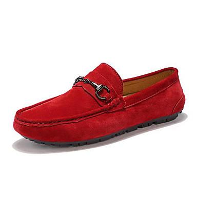 Damskie Obuwie Skóra Jesień Comfort Mokasyny i pantofle Płaski obcas Okrągły Toe na Casual Black Gray Czerwony Khaki