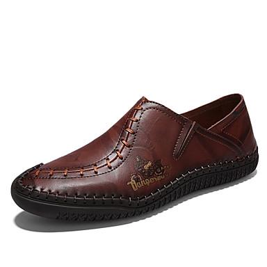 בגדי ריקוד גברים עור אביב / קיץ נוחות נעליים ללא שרוכים שחור / חום בהיר / חום כהה