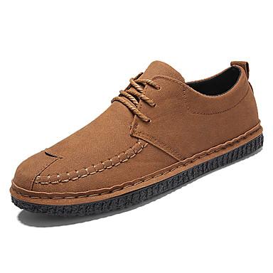 בגדי ריקוד גברים עור נאפה Leather אביב / סתיו נוחות נעלי אוקספורד שחור / אפור / צהוב