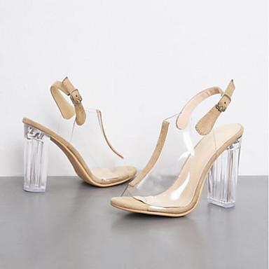 בגדי ריקוד נשים נעליים PU קיץ נוחות סנדלים עקב עבה בוהן סגורה שחור / שקד
