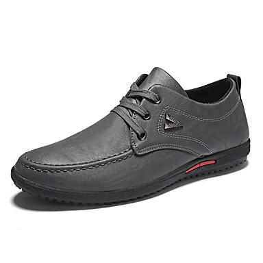 בגדי ריקוד גברים PU אביב / סתיו נוחות נעלי אוקספורד שחור / אפור / אדום