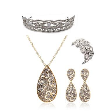 בגדי ריקוד נשים סט תכשיטים - יהלום מדומה טיפה ארופאי, אופנתי לִכלוֹל נזרים סטי תכשיטי כלה זהב עבור חתונה Party