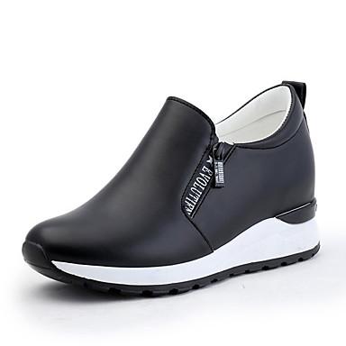 Dedo deporte Primavera de Zapatillas PU Zapatos Blanco Negro redondo Mujer Casual Confort Tacón para 06500118 Plano Otoño qv0w4