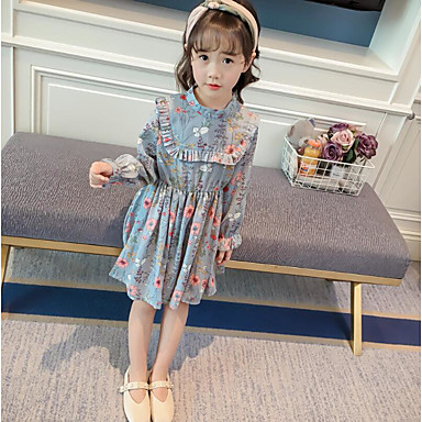 שמלה כותנה פוליאסטר אביב שרוול ארוך יומי פרחוני הילדה של פשוט פול