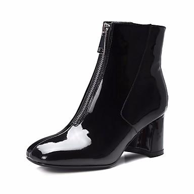 בגדי ריקוד נשים נעליים עור פטנט סתיו / חורף מגפיים אופנתיים מגפיים עקב עבה בוהן מרובעת שחור / Wine