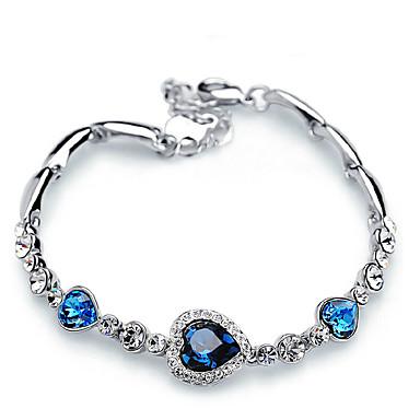 בגדי ריקוד נשים קריסטל שרשרת וצמידים - לב קלסי, אופנתי צמידים כחול כהה / כחול בהיר עבור מתנה יומי נשף רקודים
