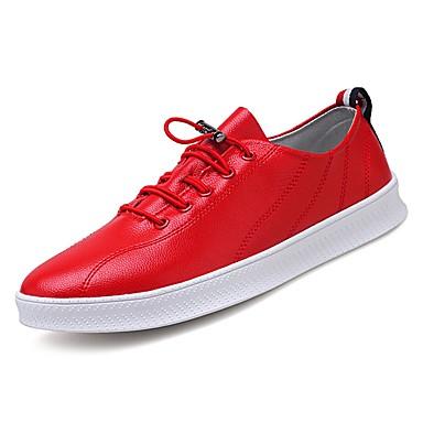 בגדי ריקוד גברים עור פטנט אביב / סתיו נוחות נעלי ספורט לבן / שחור / אדום