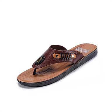 Homens sapatos Couro Ecológico Primavera Verão Conforto Chinelos e flip-flops Miçangas para Casual Castanho Escuro