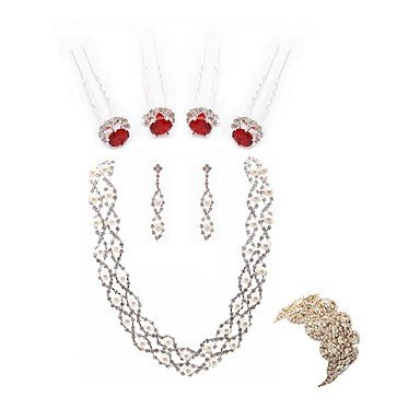 בגדי ריקוד נשים סט תכשיטים - דמוי פנינה, יהלום מדומה פרח ארופאי, אופנתי לִכלוֹל שרשרת וצמידים / סטי תכשיטי כלה לבן עבור חתונה / Party