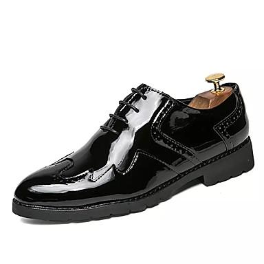 Homens sapatos Couro Ecológico Primavera Outono Conforto Tênis Caminhada Cadarço para Casual Preto Dourado