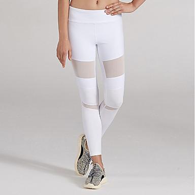 Mujer Malla   Retazos Pantalones de Running - Blanco 8a7a0d2afac7