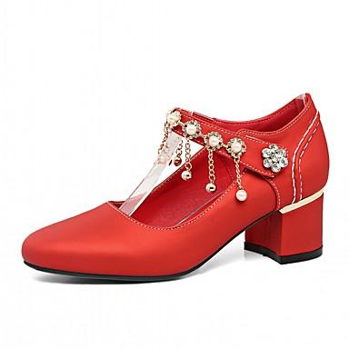 Bottier rond Talon Talons Printemps Automne Beige Femme Chaussures Perle à Chaussures Bout Similicuir Imitation Nouveauté Confort 06533287 Fwngv7Cq